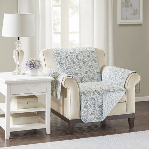 Madison Park Vanessa Blue Quilted Reversible Cotton Printed Arm Chair Protector