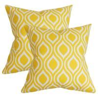 Set of 2  Poplar Geometric Throw Pillows in Yellow