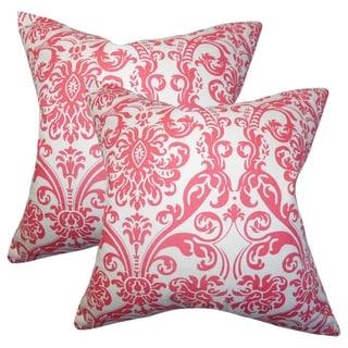 Set of 2  Saskia Damask Throw Pillows in Candy Pink