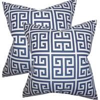 Set of 2  Paros Greek Key Throw Pillows in Navy Blue