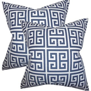 Set of 2  Paros Greek Key Throw Pillows in Navy Blue