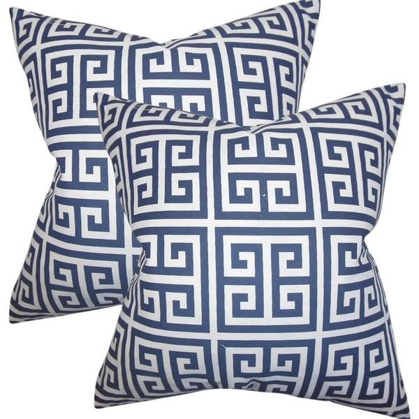 bf451f25c5d Shop Set of 2 Paros Greek Key Throw Pillows in Navy Blue - On Sale ...