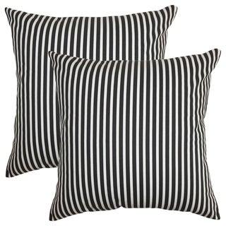 Set of 2  Elvy Stripes Throw Pillows in Black White