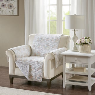 Madison Park Harmony Coral Quilted Reversible Cotton Printed Arm Chair Protector