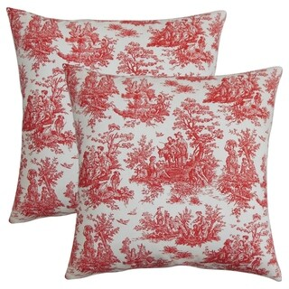 Set of 2 Lalibela Toile Throw Pillows in Red White
