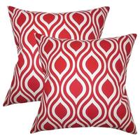 Set of 2  Poplar Geometric Throw Pillows in Red