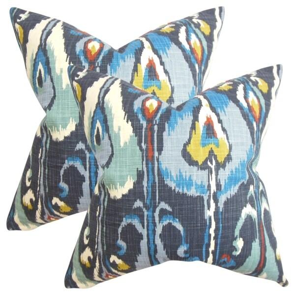 Set of 2 Gudrun Ikat Throw Pillows in Blue