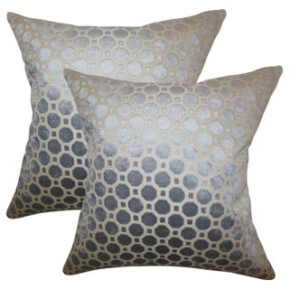 Set of 2  Kostya Geometric Throw Pillows in Grey