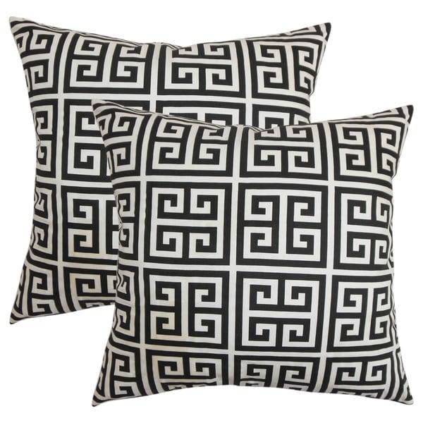 Set Of 2 Paros Greek Key Throw Pillows In Black White