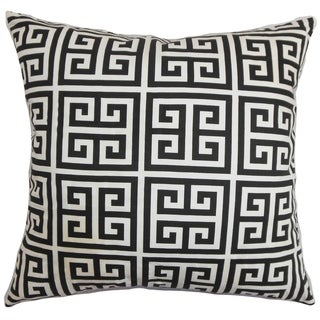 Set of 2  Paros Greek Key Throw Pillows in Black White