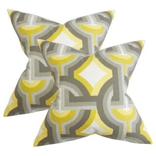 Set of 2  Rineke Geometric Throw Pillows in Gray Yellow