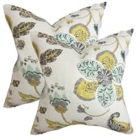 Set of 2  Jora Floral Throw Pillows in White
