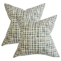 Set of 2  Onslow Plaid Throw Pillows in Blue