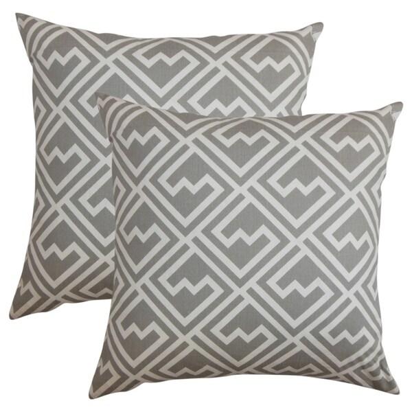 Set of 2 Ragnhild Geometric Throw Pillows in Gray