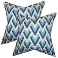 Set of 2  Eleri Geometric Throw Pillows in Blue