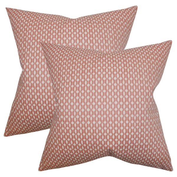 Set of 2 Orit Geometric Throw Pillows in Red