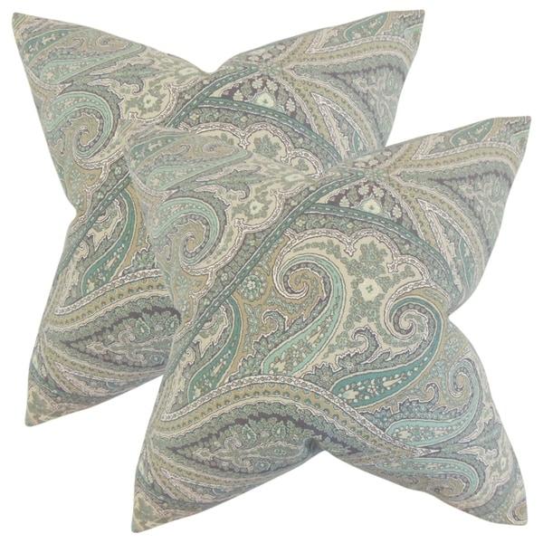 Set Of 2 Uma Paisley Throw Pillows In Aquamarine