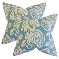 Set of 2  Izzy Floral Throw Pillows in Cove
