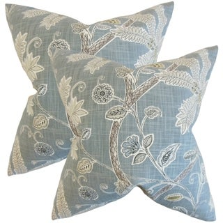 Set of 2  Mead Floral Throw Pillows in Mineral