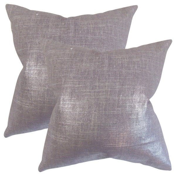Set of 2 Florin Solid Throw Pillows in Amethyst