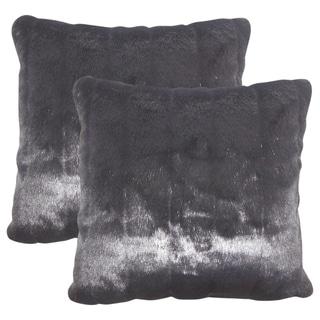 Set of 2  Valeska Faux Fur Throw Pillows in Black