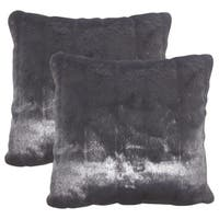 Set of 2  Valeska Faux Fur Throw Pillows in Black