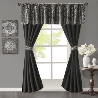 Madison Park Whitman Jacquard and Solid Faux Silk 5 Piece Curtain Set