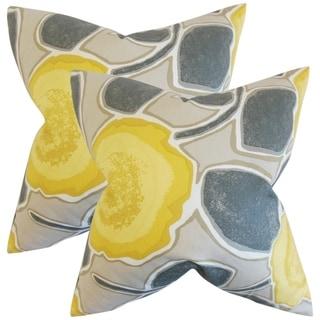 Set of 2  Carlin Geometric Throw Pillows in Yellow Gray
