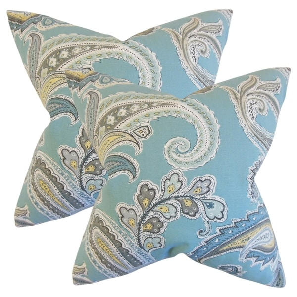 Set Of 2 Kalani Paisley Throw Pillows In Rain