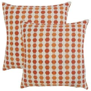 Set of 2  Erela Geometric Throw Pillows in Tangerine