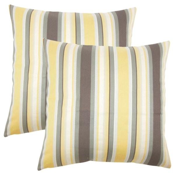 Set of 2 Tefo Striped Throw Pillows in Plantain