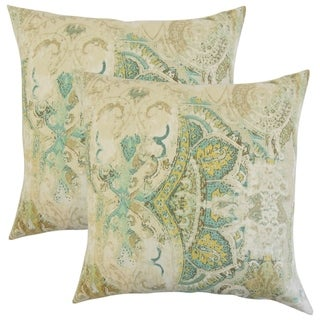 Set of 2  Havilah Floral Throw Pillows in Seahorse