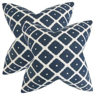 Set of 2  Fallon Geometric Throw Pillows in Blue