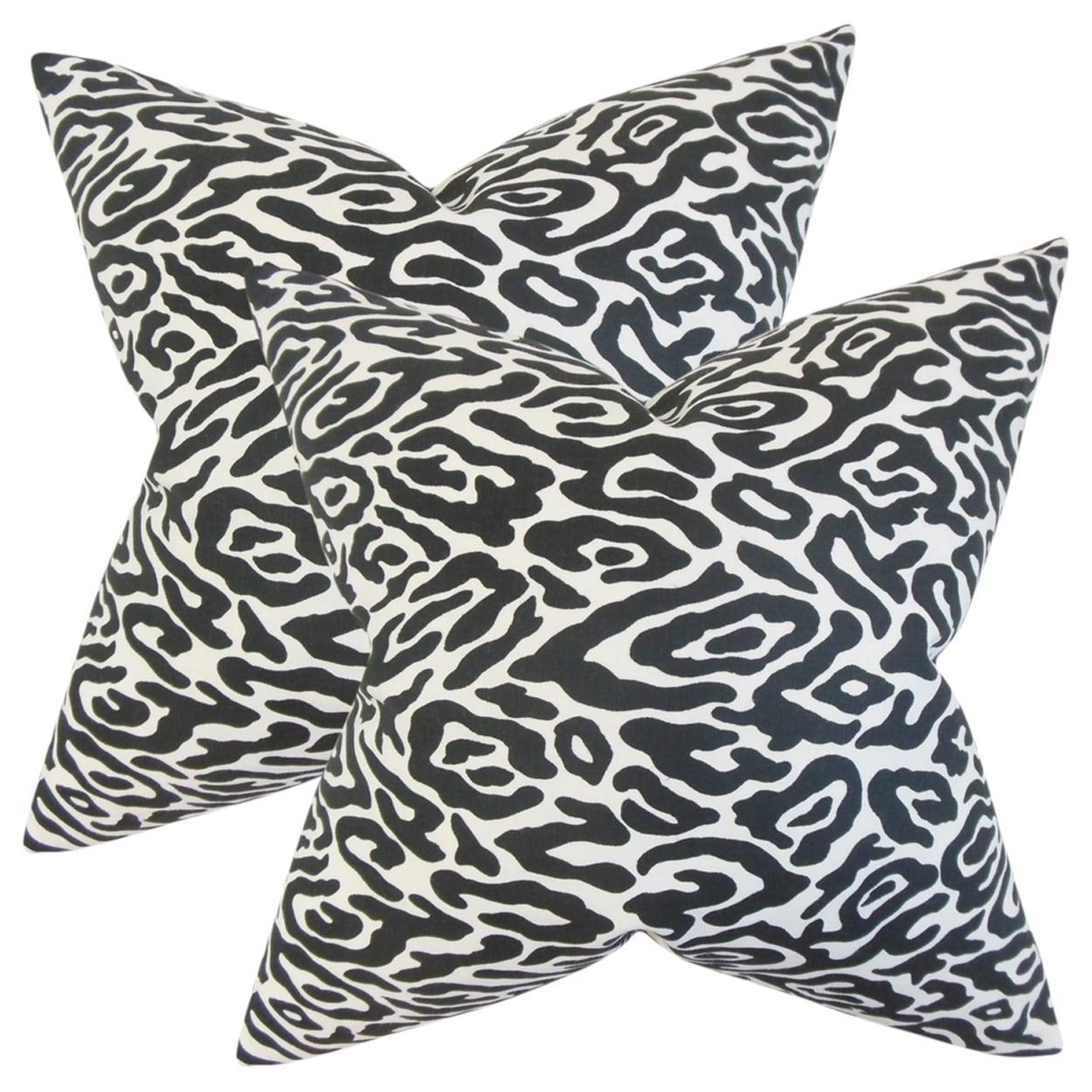 Set Of 2 Bevin Geometric Throw Pillows In Black White