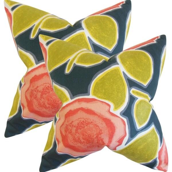 Set of 2 Carlin Geometric Throw Pillows in Poppy