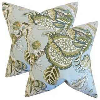 Set of 2  Oberon Floral Throw Pillows in Mineral