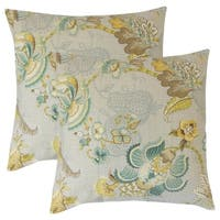 Set of 2  Lieve Floral Throw Pillows in Platinum Olive