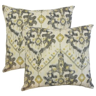 Set of 2 Picabia Ikat Throw Pillows in Gold Silver