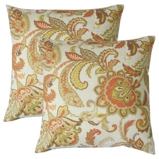 Set of 2  Pelagia Floral Throw Pillows in Terra