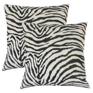 Set of 2  Wassameh Animal Print Throw Pillows in Black White