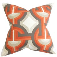 Set of 2  Rineke Geometric Throw Pillows in Orange