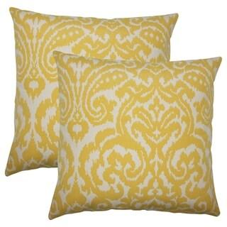 Set of 2  Wafai Ikat Throw Pillows in Pollen