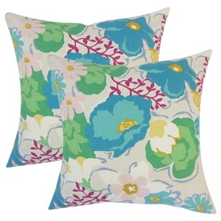 Set of 2  Urijah Floral Throw Pillows in Turquoise