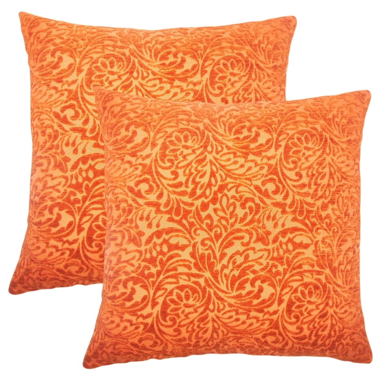 Set of 2  Taline Damask Throw Pillows in Tangerine