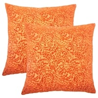 Set of 2  Taline Damask Throw Pillows in Tangerine