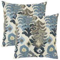 Set of 2  Henriette Ikat Throw Pillows in Indigo