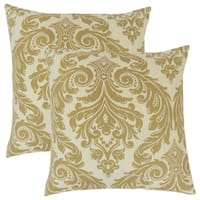 Set of 2  Jovita Damask Throw Pillows in Camel