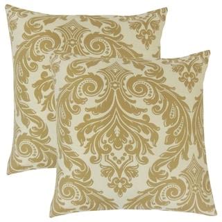 Set of 2  Jovita Damask Throw Pillows in Camel