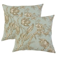 Set of 2  Ilise Floral Throw Pillows in Seaglass