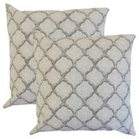Set of 2  Padma Geometric Throw Pillows in Mineral